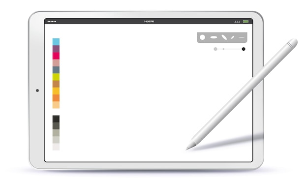 Horizontal tablet computer and pen illustration