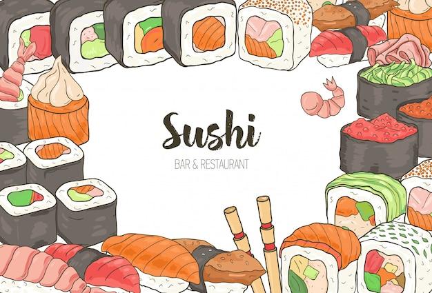 カラフルなフレームの水平テンプレートは、さまざまな種類の日本の寿司と白い背景のロールで構成されていました。メニューやアジア料理レストランのバナーの手描きイラスト。