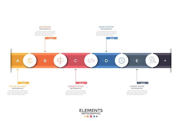 Горизонтальная шкала времени. красочная полоса, 5 бумажных белых круглых элементов с линейными значками внутри, указанием года, текстовыми полями. концепция годового развития. макет дизайна инфографики. векторная иллюстрация.
