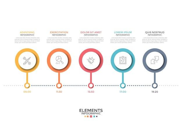 수평 타임 라인. 내부 선형 아이콘과 시간 표시가있는 5 개의 다채로운 라운드 요소가 행에 배치됩니다. 시간표, 계획 또는 일정의 개념. 인포 그래픽 디자인 템플릿입니다.