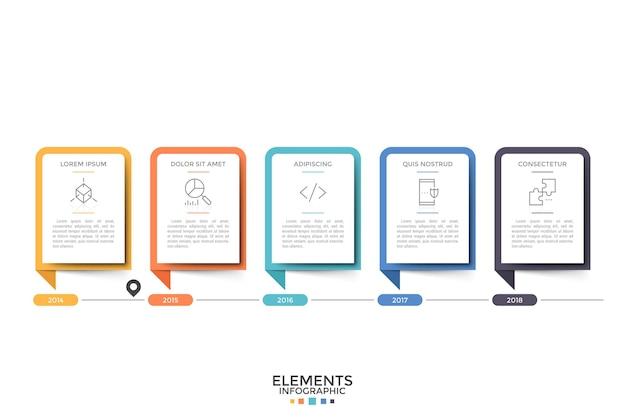 Горизонтальная шкала времени. пять бумажных белых прямоугольных элементов или карточек с символами тонких линий, заголовком и информацией внутри, а также указанием года. современный инфографический шаблон дизайна. векторная иллюстрация.
