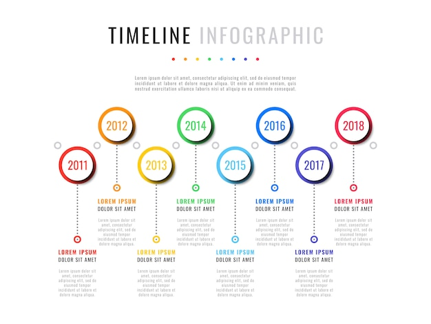 Horizontal timeline infographic with round elements, year indicators and textboxes on a white background. realistic 3d paper cut design.