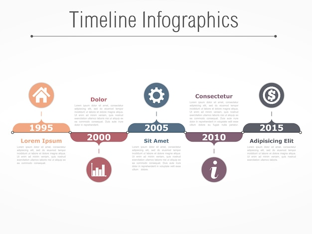 Horizontal timeline infographics design template