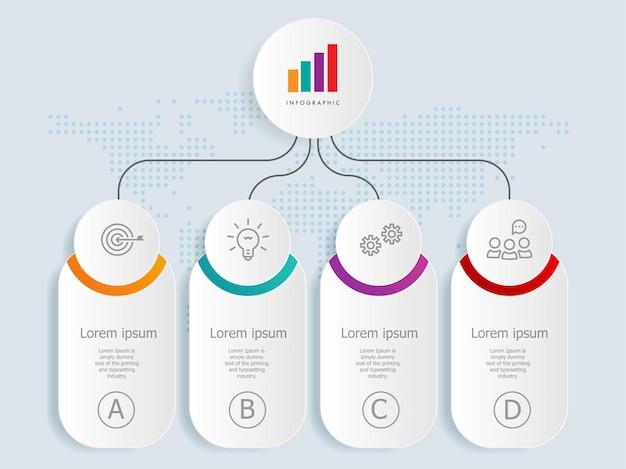 Шаблон элемента инфографики горизонтальной шкалы времени с бизнес-значками 4 шага