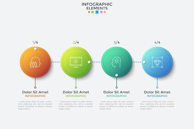 Горизонтальная шкала времени с 4 соединенными кружками градиентного цвета. векторная иллюстрация в реалистичном стиле для визуализации процесса развития бизнеса, индикации завершения проекта, индикатора выполнения.