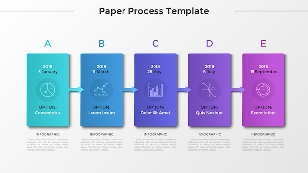 Horizontal timeline with 5 cards connected by arrows, thin line symbols and place for text or description. process of development visualization. modern infographic design layout. vector illustration.