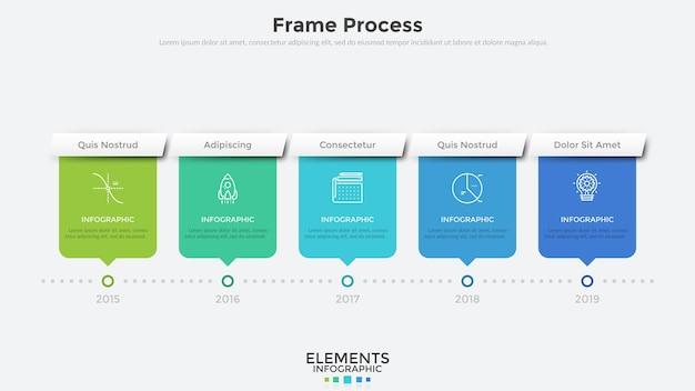 5개의 직사각형 요소와 연도 표시가 있는 수평 타임라인. 평면 infographic 디자인 서식 파일입니다. 회사의 연간 진행 상황 또는 개발 기록 시각화를 위한 현대적인 벡터 일러스트레이션.