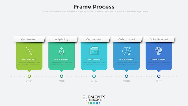 Horizontal timeline with 5 rectangular elements and year indication. flat infographic design template. modern vector illustration for company's annual progress or development history visualization.