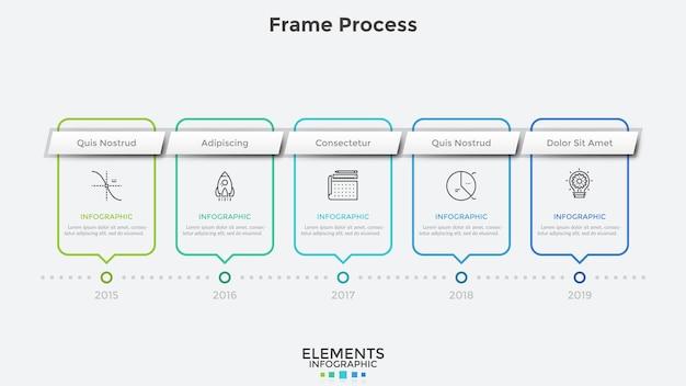 Горизонтальная шкала времени с 5 прямоугольными рамками и указанием года. концепция ежегодного прогресса в развитии компании. современный инфографический шаблон дизайна. векторная иллюстрация для корпоративного отчета.
