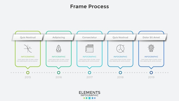 Horizontal timeline with 5 rectangular frames and year indication. concept of annual progress in company's development. modern infographic design template. vector illustration for corporate report.
