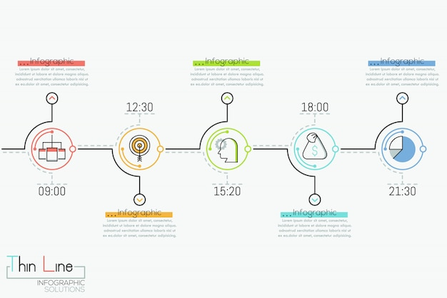 Horizontal timeline with 5 round elements, time indication, pictograms and text boxes,