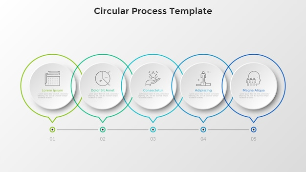 Horizontal timeline with 5 round paper white elements connected by line. five milestones of business development process. realistic infographic design template. vector illustration for progress bar.