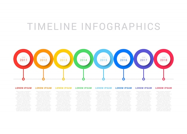 Horizontal timeline with eight circular elements, year indication and text boxes. simple process diagram