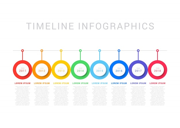 Horizontal timeline with eight round elements, year indication and text boxes on white background