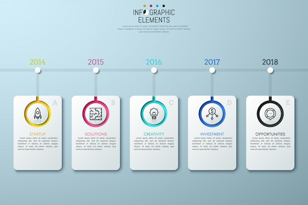 Horizontal timeline with year indication,  lettered rectangle elements, linear icons and text boxes.