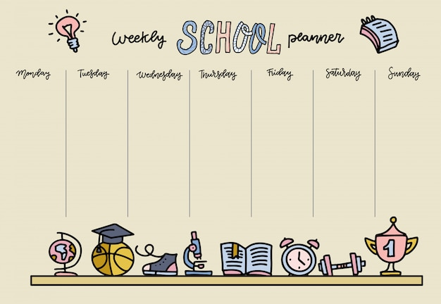 Горизонтальное расписание для начальной школы. шаблон еженедельного планировщика с мультяшными школьными предметами