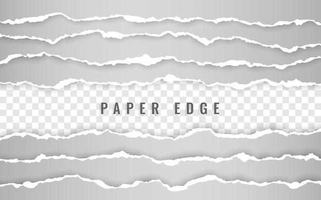 Horizontal torn paper edge. ripped squared horizontal   paper strips.