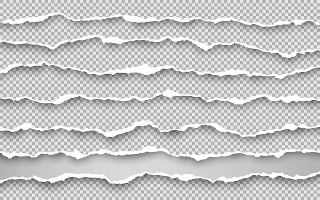수평 찢어진 용지 가장자리. 사각형 수평 종이 스트립을 찢었습니다.