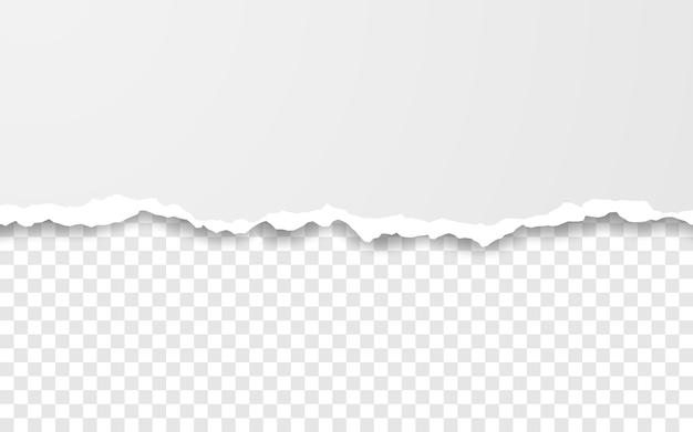 수평 찢어진 용지 가장자리. 사각형 가로 흰색 종이 스트립을 찢었습니다.