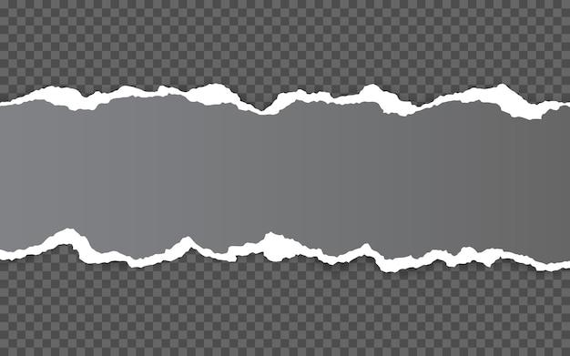 Горизонтальный рваный край бумаги. разорванные горизонтальные полоски белой бумаги прямоугольной формы.