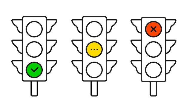 Horizontal traffic light. isolated vector illustration on white background