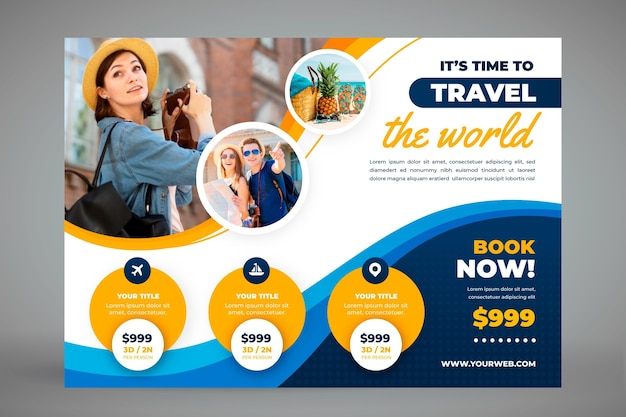 Horizontal travel banner template with photo Free Vector