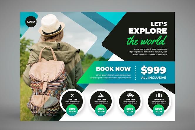 Шаблон горизонтального туристического баннера с фото