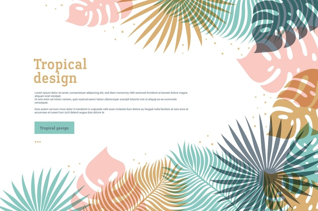 Horizontal tropical banner in pastel colors