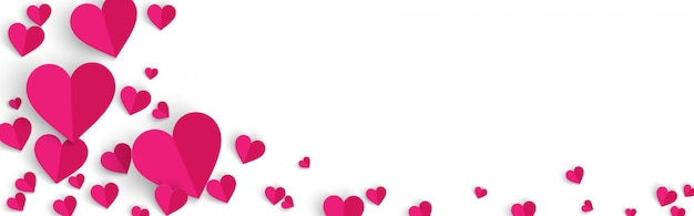 Horizontal valentine's day banner background with pink hearts paper cut style