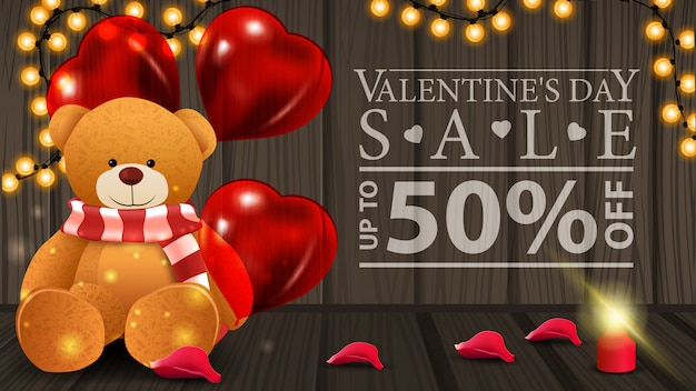 Horizontal valentine's day discount banner with teddy beer