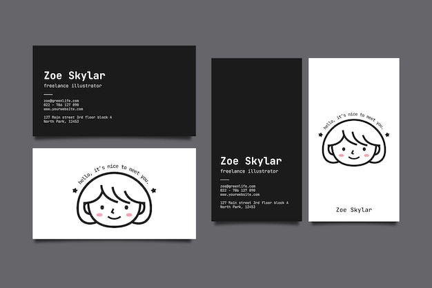 Horizontal and vertical business card template with avatar