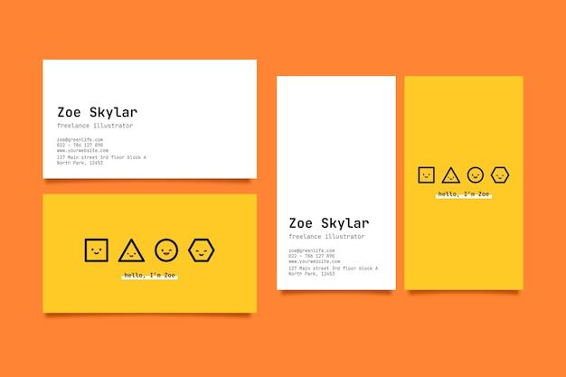 Horizontal and vertical business card template with geometric shapes