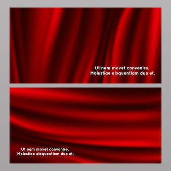 Horizontal and vertical red silk fabric banners