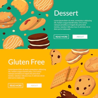 만화 쿠키와 수평 웹 배너 설정 포스터 프리미엄 벡터