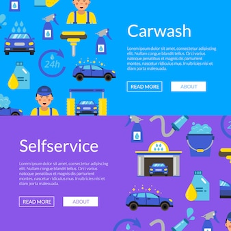 Horizontal web banner set with colored car wash flat icons