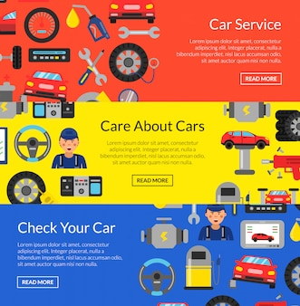 Horizontal web banner set with flat style car service elements