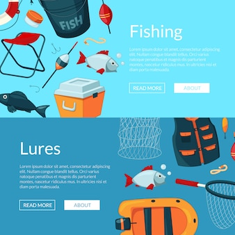 Horizontal web banners illustration with cartoon fishing equipment