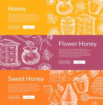 Horizontal web banners illustration with hand drawn honey elements and place for text