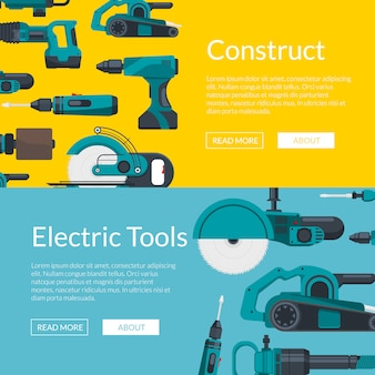 Horizontal web banners poster  with electric construction tools