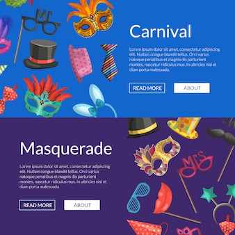 Horizontal web banners or poster  with masks and party accessories
