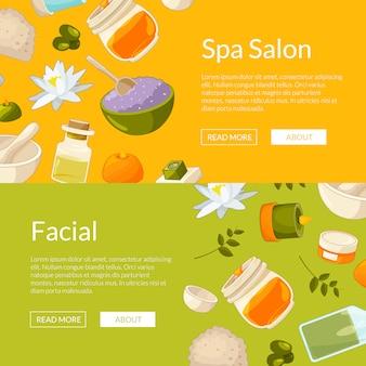Horizontal web banners set, spa elements illustration