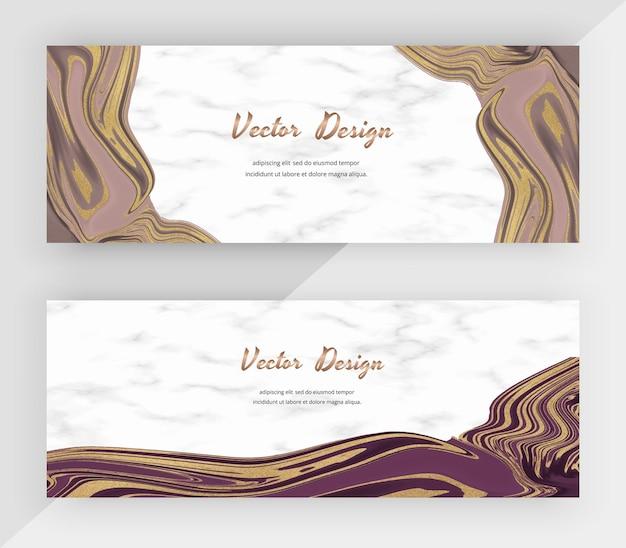 Горизонтальные веб-баннеры с жидкими чернилами из розового золота с блестящей текстурой