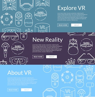 Horizontal web banners with virtual reality elements
