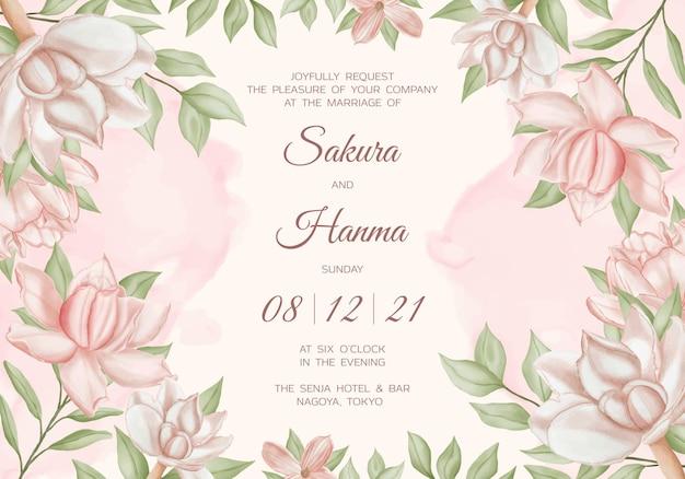 美しい花の水彩画と水平結婚式の招待状の背景