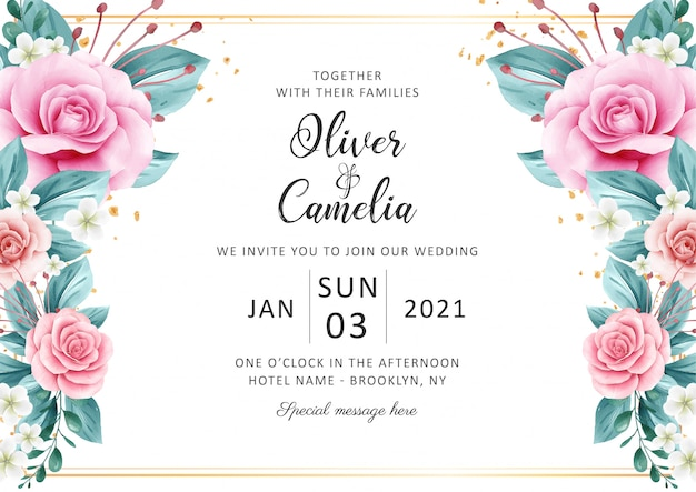 Horizontal wedding invitation card template set with watercolor floral deign and gold glitter