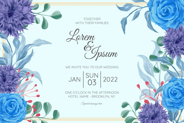 Horizontal wedding invitation card template set with watercolor floral