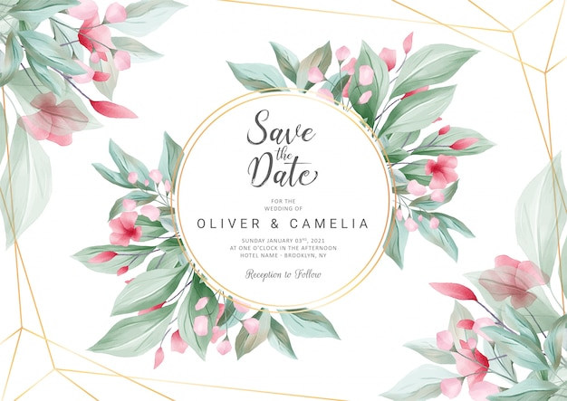 Horizontal wedding invitation card template with watercolor flowers and geometric line decoration