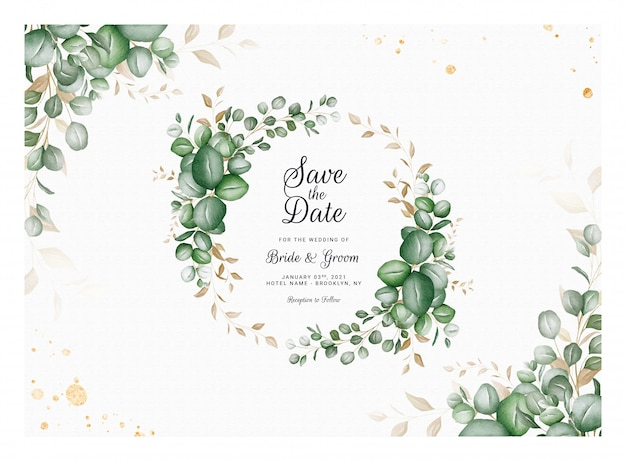 Horizontal wedding invitation template with eucalyptus wreath and border decoration. botanic card design concept