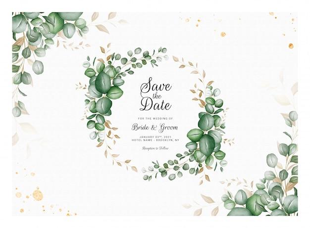 Horizontal wedding invitation template with eucalyptus wreath and border decoration. botanic card design concept