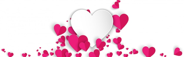Horizontal white banner background with pink hearts paper cut style